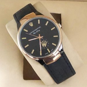 Black Leather Date Watch 599