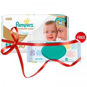 Free Wipes With Pampers Premium Care Diapers Size 5 2000