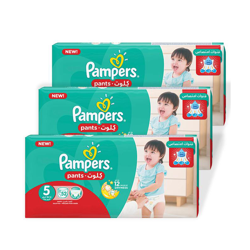 Pampers Pack of 03 Baby Dry Diapers Pants Size 5 5999